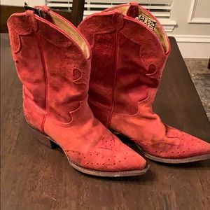 Vintage Justin Red Suede Boots Size 9